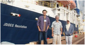 Figure4. Nannofossil paleontologist team: Xiang Su, DR. Jeremy Young and I (photo credit by DR. Jeremy Young)